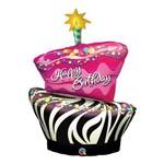 Balão Metalizado 41 Polegadas - Bolo de Aniversário, com Listra de Zebra Moderna - Qualatex