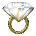 Balão Metalizado 37 Polegadas - Anel de Diamentes de Casamento - Qualatex