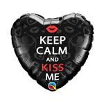 Balão Metalizado Coração Kiss me 18''46cm Qualatex