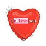 Balão Metalizado Coração Thumbs Up Love 18''46cm Betallic
