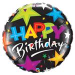 Balão MetalizadoEstrelas Brilhantes Pretas de Aniversário46cm Qualatex