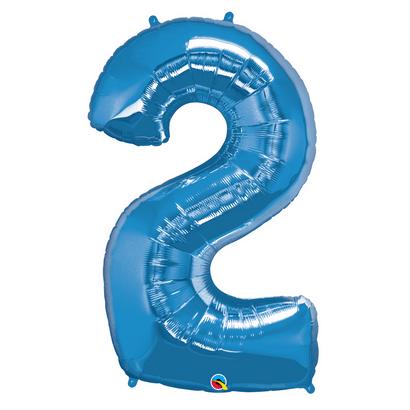 Balão Metalizado Número 2 Azul Safira 86cm Qualatex