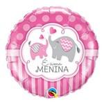 Balão Metalizado Redondo 18 Pol- Menina com Elefante