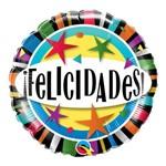 Balão Metalizado Redondo 18 Poledas - Felicidades Stars - Qualatex