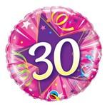 Balão Metalizado Redondo 18 Polegadas - 30 Estrela Brilhante Rosa Intenso - Qualatex