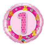 Balão Metalizado Redondo 18 Polegadas - 1 Ano Ursinhos Rosa - Qualatex
