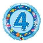 Balão Metalizado Redondo 18 Polegadas - 4 Anos Naves Espaciais e Alienígenas - Qualatex