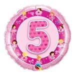 Balão Metalizado Redondo 18 Polegadas - 5 Anos Bailarinas Rosa - Qualatex