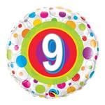 Balão Metalizado Redondo 18 Polegadas - 9 Anos Pontos Coloridos - Qualatex