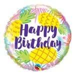 Balão Metalizado Redondo 18 Polegadas - Abacaxis de Aniversário - Qualatex