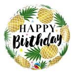 Balão Metalizado Redondo 18 Polegadas - Abacaxis Dourados de Aniversário - Qualatex