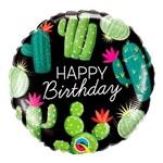 Balão Metalizado Redondo 18 Polegadas - Aniversário Cactos - Qualatex
