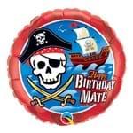 Balão Metalizado Redondo 18 Polegadas - Aniversário, Caveira e Navio Pirata - Qualatex