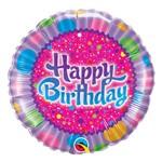 Balão Metalizado Redondo 18 Polegadas - Aniversário, Chocolate Granulado e Brilho - Qualatex