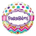 Balão Metalizado Redondo 18 Polegadas - Aniversário, com Listras Chevron e Pontos - Qualatex