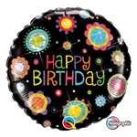 Balão Metalizado Redondo 18 Polegadas - Aniversário, com Pontos e Flores - Qualatex