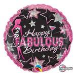 Balão Metalizado Redondo 18 Polegadas - Aniversário Fabuloso - Qualatex