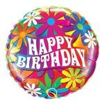 Balão Metalizado Redondo 18 Polegadas - Aniversário, Margaridas Psicodélicas - Qualatex