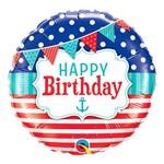 Balão Metalizado Redondo 18 Polegadas - Aniversário, Náutico com Bandeirolas - Qualatex