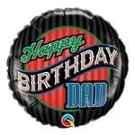 Balão Metalizado Redondo 18 Polegadas - Aniversário, Papai com Listras - Qualatex
