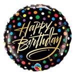Balão Metalizado Redondo 18 Polegadas - Aniversário, Pontos Coloridos e Caligrafia Ouro - Qualatex