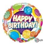 Balão Metalizado Redondo 18 Polegadas - Aniversário, Pontos Grandes e Brilho - Qualatex