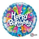 Balão Metalizado Redondo 18 Polegadas - Aniversário Radiante (fundo Azul) - Qualatex