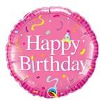 Balão Metalizado Redondo 18 Polegadas - Aniversário, Rosa Intenso - Qualatex