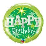 Balão Metalizado Redondo 18 Polegadas - Aniversário, Verde com Brilho - Qualatex