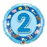 Balão Metalizado Redondo 18 Polegadas - 2 Anos Animais da Fazenda - Qualatex