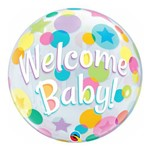 Balão Metalizado Redondo 18 Polegadas - Bem-vindo Bebê, com Pontos - Qualatex
