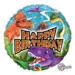 Balão Metalizado Redondo 18 Polegadas - Dinoussauros de Aniversário - Qualatex