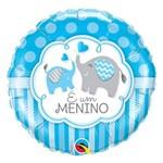 Balão Metalizado Redondo 18 Polegadas - é um Menino Elefantes - Qualatex