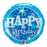 Balão Metalizado Redondo 18 Polegadas - Estrela Maravilhosa Azul de Aniversário - Qualatex