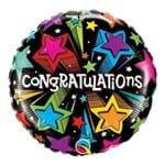 Balão Metalizado Redondo 18 Polegadas - Estrelas Cadentes Modernas de Aniversário - Qualatex