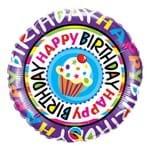 Balão Metalizado Redondo 18 Polegadas - Feliz Aniversário com Cupcake Repetido - Qualatex