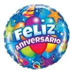 Balão Metalizado Redondo 18 Polegadas - Feliz Aniversário, Festa - Qualatex
