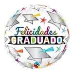 Balão Metalizado Redondo 18 Polegadas - Graduado Cap e Stars - Qualatex
