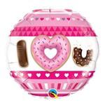 Balão Metalizado Redondo 18 Polegadas - I (coração) U, Rosquinhas - Qualatex