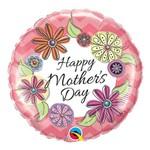 Balão Metalizado Redondo 18 Polegadas - Mothers Day Floral Chevron - Qualatex