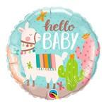 Balão Metalizado Redondo 18 Polegadas - Olá Bebê Lhama - Qualatex