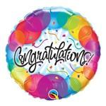 Balão Metalizado Redondo 18 Polegadas - Parabéns, com Balões - Qualatex