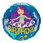 Balão Metalizado Redondo 18 Polegadas - Sereia de Feliz Aniversário - Qualatex