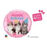 Balão Metalizado Redondo 18 Polegadas - Studio Pets Feliz Aniversáiro com Gatinhos - Qualatex