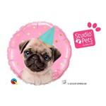 Balão Metalizado Redondo 18 Polegadas - Studio Pets Festa Pug - Qualatex