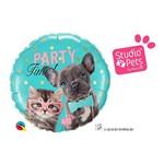 Balão Metalizado Redondo 18 Polegadas - Studio Pets Hora da Festa - Qualatex