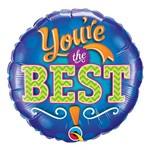 Balão Metalizado Redondo 18 Polegadas - Você é o Melhor, com Emblema - Qualatex