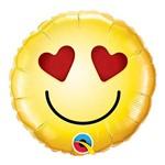 Balão Metalizado Redondo 9 Polegadas - Carinha Sorridente Amor - Qualatex