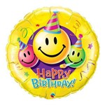 Balão Metalizado Redondo 9 Polegadas - Carinhas Sorridentes de Aniversário - Qualatex