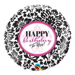 Balão Metalizado Redondo 9 Polegadas - Damasco Elegante de Aniversário - Qualatex
